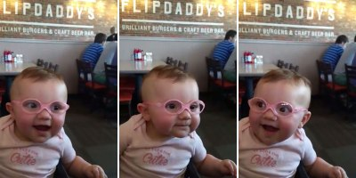 Baby Tries on Glasses for the Very First Time
