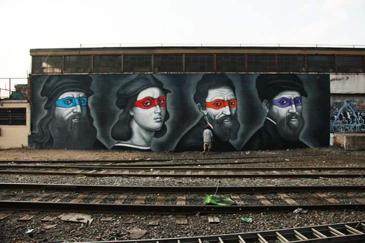 brooklyn street art owen dippie jaime rojo 4 Teenage Mutant Ninja Renaissance Turtles
