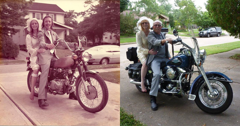 Couple Celebrates their 40th by Recreating Photos from their Wedding Day