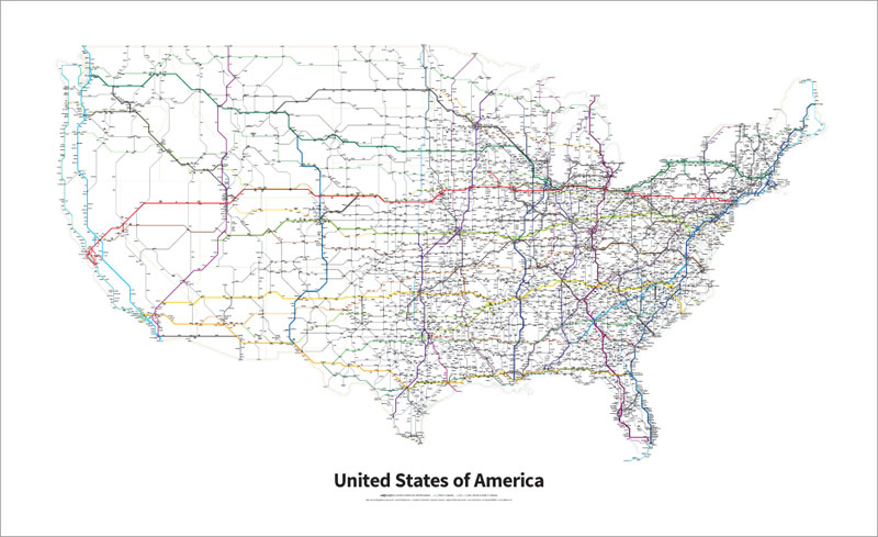 every us highway drawn in the style of a transit map by cameron booth 3