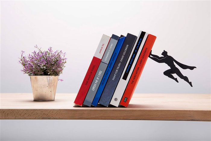 Floating Bookshelves Held Up By Superheroes  by artori design (2)