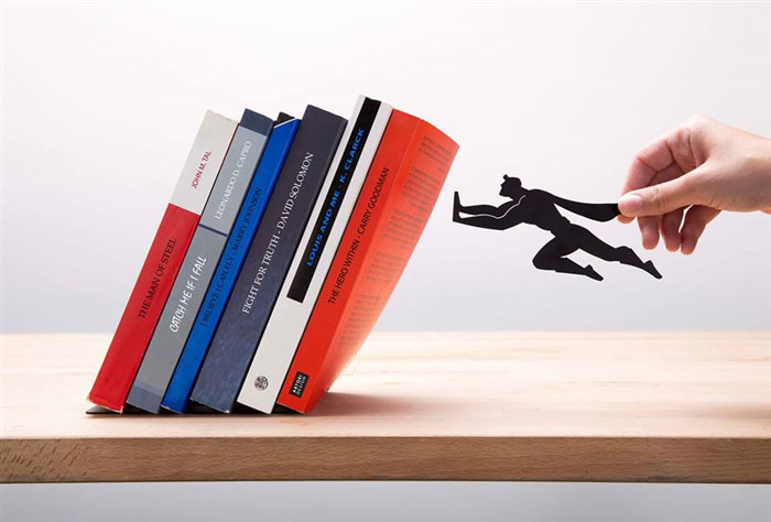 Floating Bookshelves Held Up By Superheroes  by artori design (3)