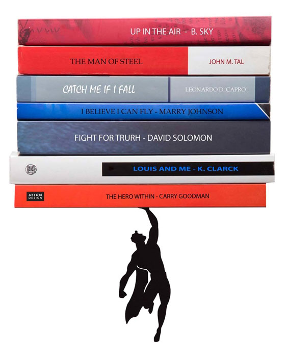 Floating Bookshelves Held Up By Superheroes  by artori design (5)