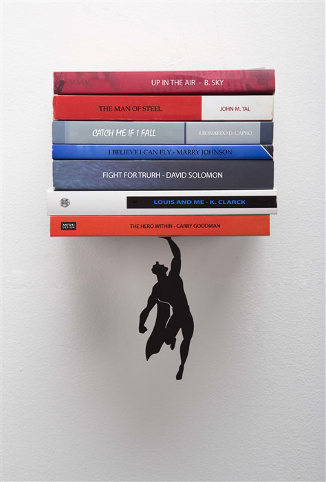 Floating Bookshelves Held Up By Superheroes  by artori design (6)