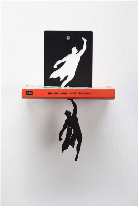Floating Bookshelves Held Up By Superheroes  by artori design (7)