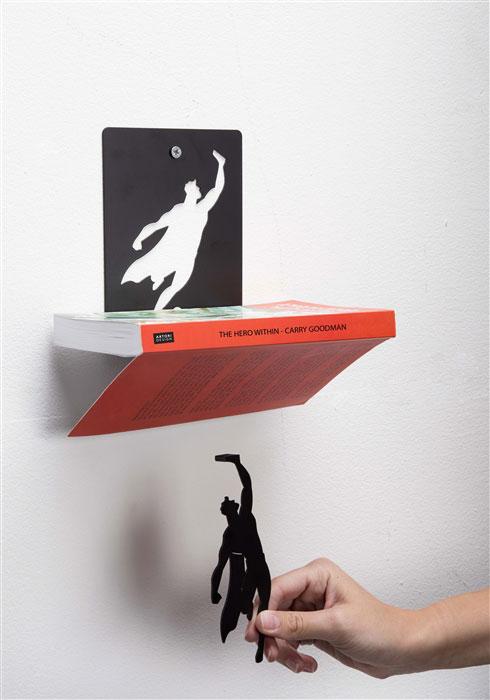 Good Floating Bookshelves Held Up By Superheroes By Artori Design (8)