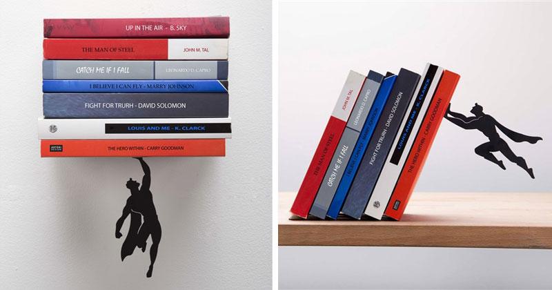 Floating Bookshelves Held Up By a MagneticSuperhero