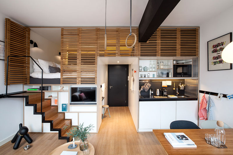 hotel room loft designed for longer stays zoku loft (2)
