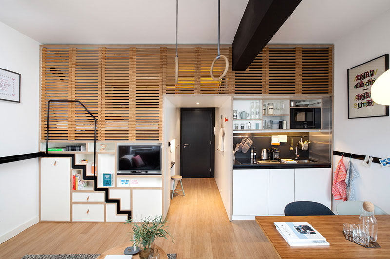 hotel room loft designed for longer stays zoku loft (3)