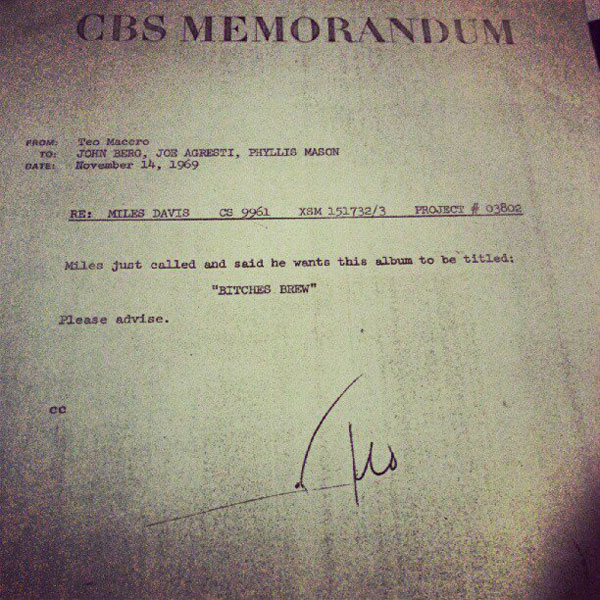 in 1969 miles davis u2019 record producer sent this memo to