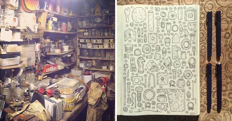 Artist Begins 5 Year Project to Draw the 100,000+ Items in Late Grandfather's Tool Shed