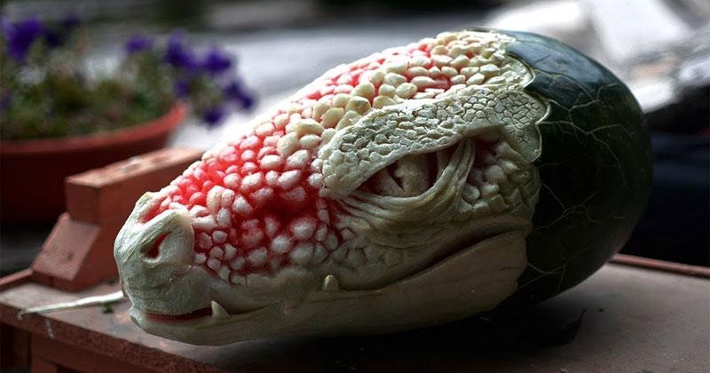 Artist Transforms Watermelon Into Dragon's Head