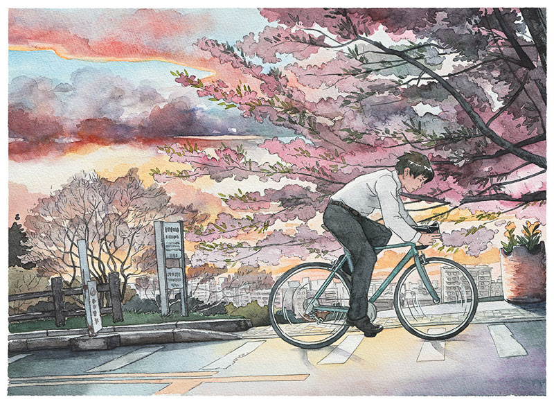 bicycle boy watercolor series by Mateusz Urbanowicz (10)