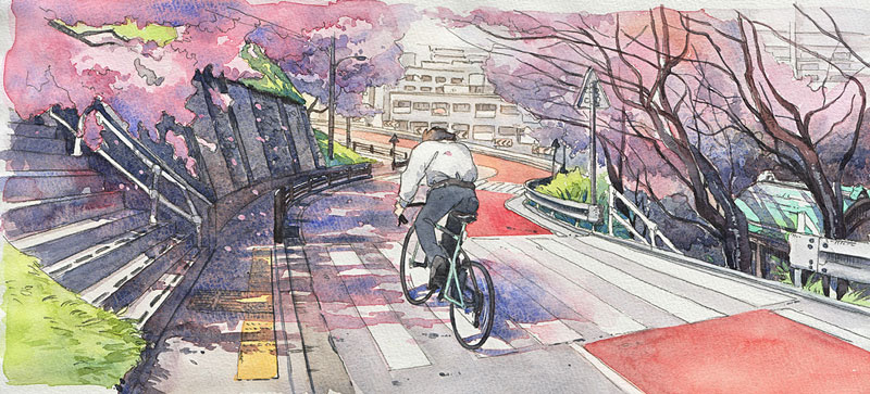 bicycle boy watercolor series by Mateusz Urbanowicz (2)