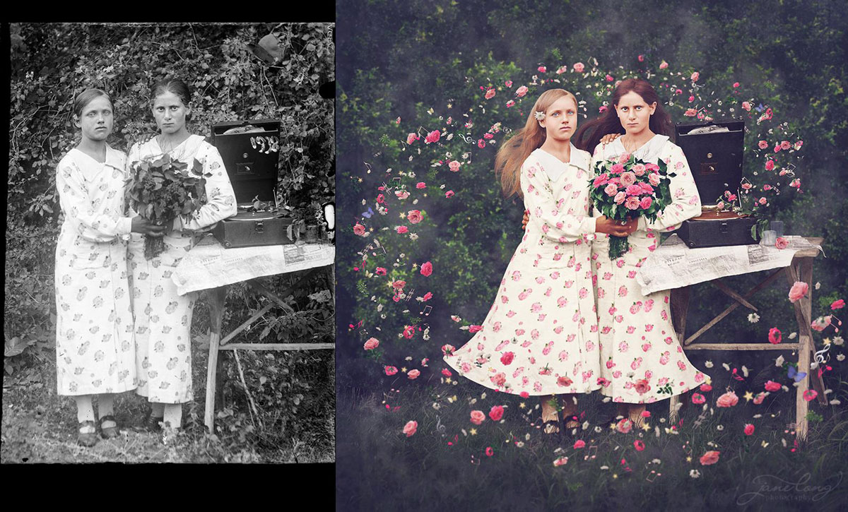 jane long colorizes old photos and adds a surreal twist to them (11)