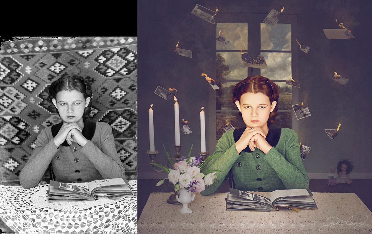 jane long colorizes old photos and adds a surreal twist to them (12)