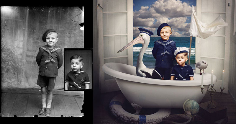 Jane Long Colorizes Old Photos and Adds a Surreal Twist to Them