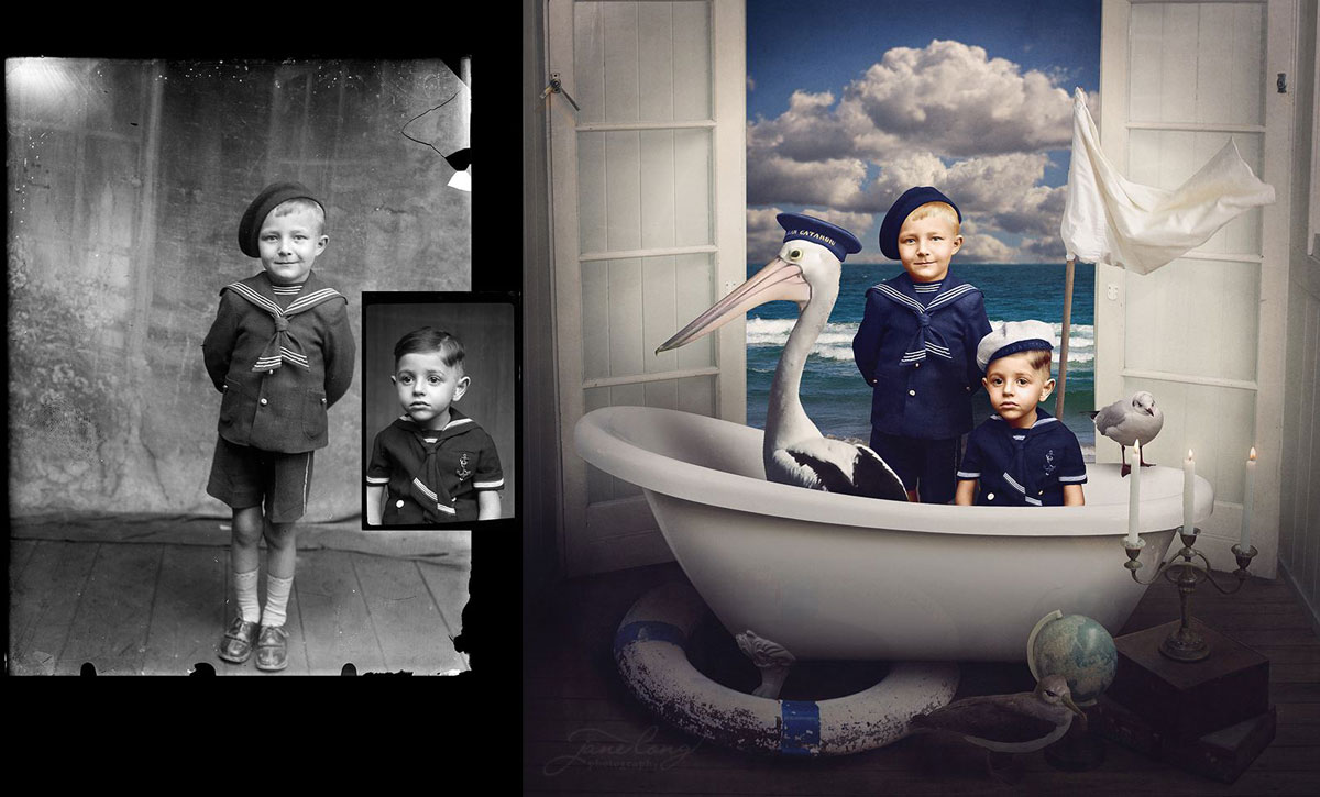 jane long colorizes old photos and adds a surreal twist to them (5)