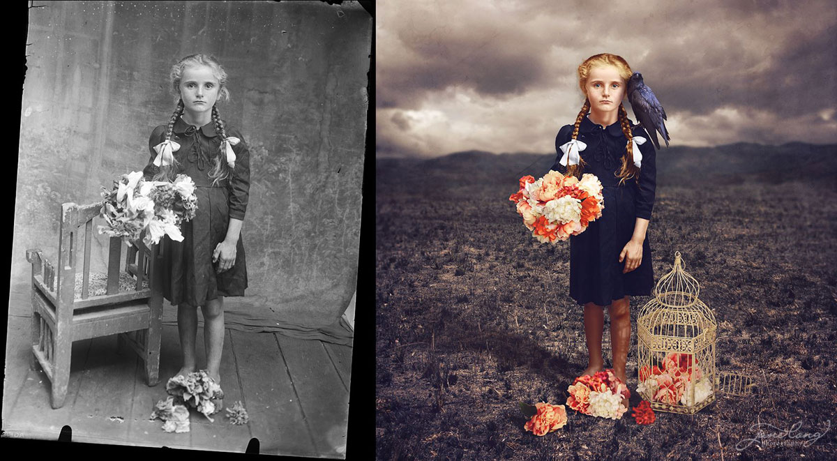 jane long colorizes old photos and adds a surreal twist to them (6)