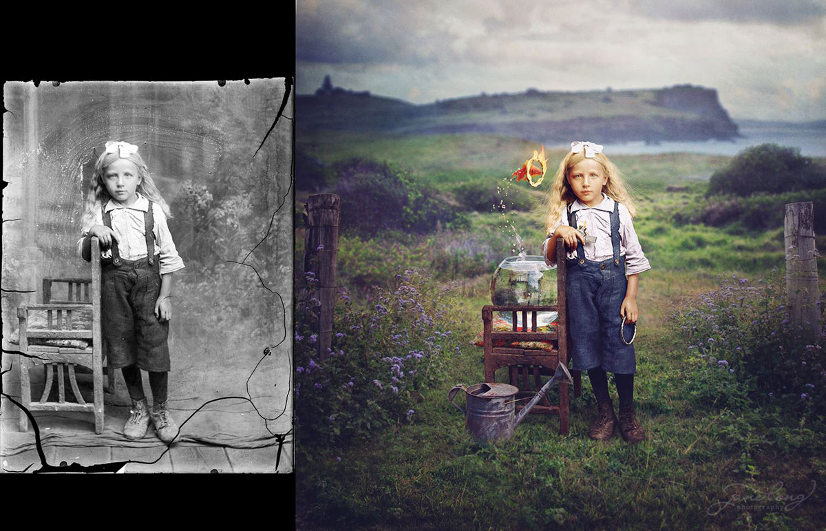 jane long colorizes old photos and adds a surreal twist to them (9)