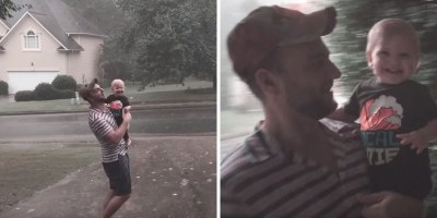 Toddler Plays with Dad in Rain for the Very First Time