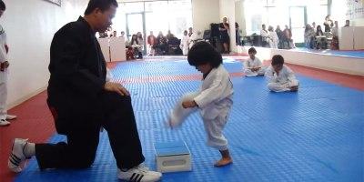 Little Kid (Eventually) Breaks Board to Earn WhiteBelt