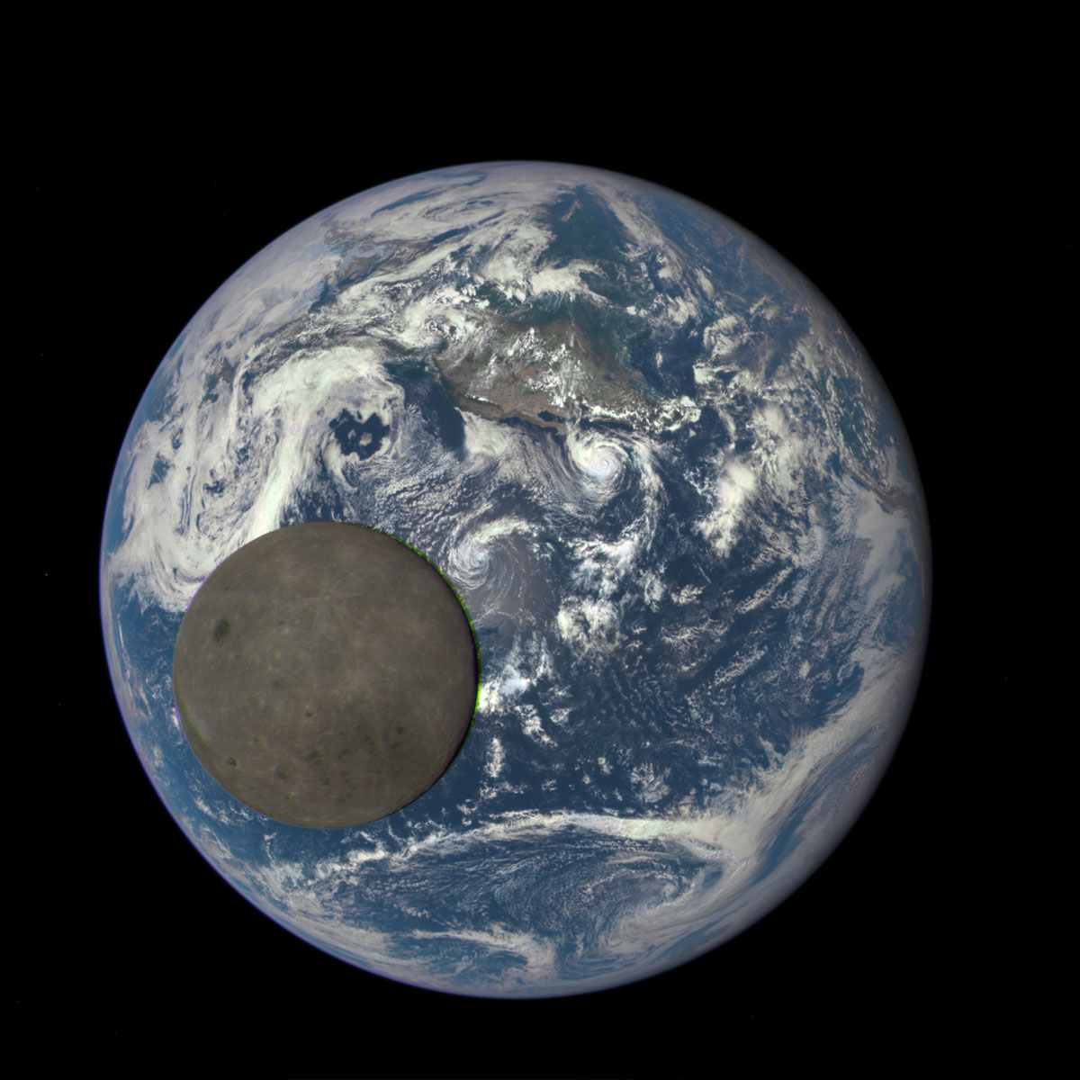 nasa captures dark side of the moon as it crosses earth