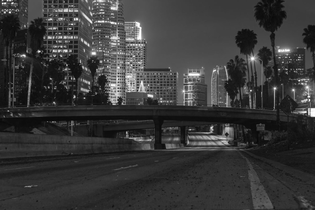 16 Eerie Night Time Photos of Empty LA Freeways