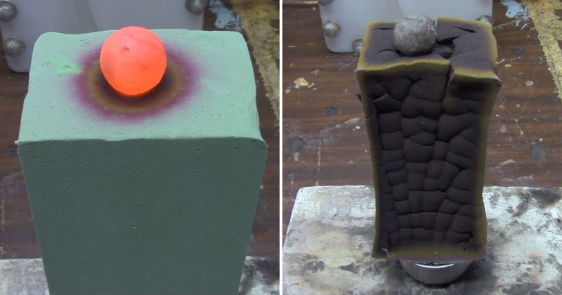 Red Hot Nickel Ball vs Floral Foam