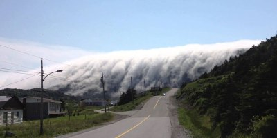 Wall of Fog Rolls Over Mountains in Lark Harbour, Newfoundland