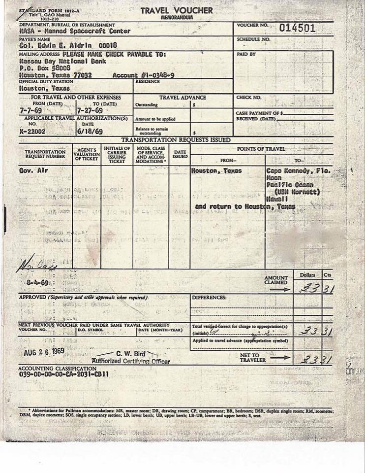 When Buzz Aldrin Returned from the Moon He Had to Fill Out a ...
