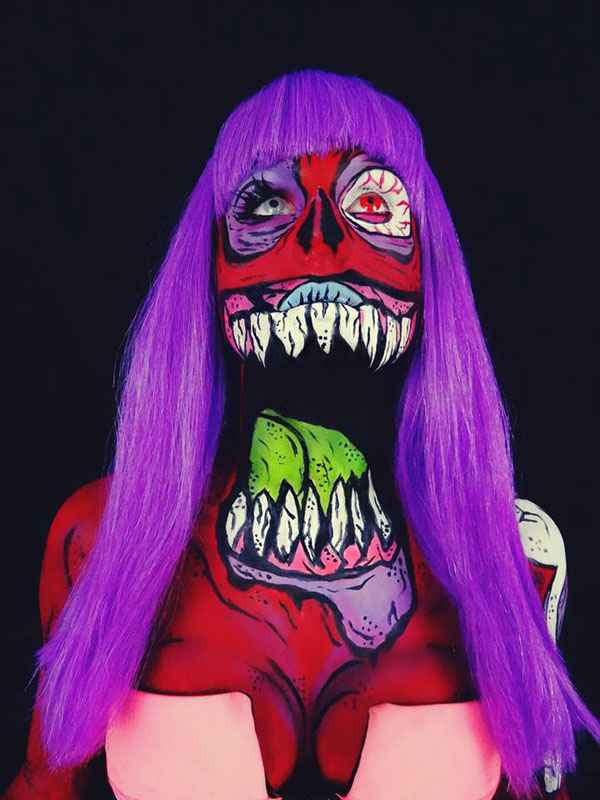 Bodypainter Corie Willet twistinbangs Completely Transforms Herself Into Beautiful Nightmares (1)