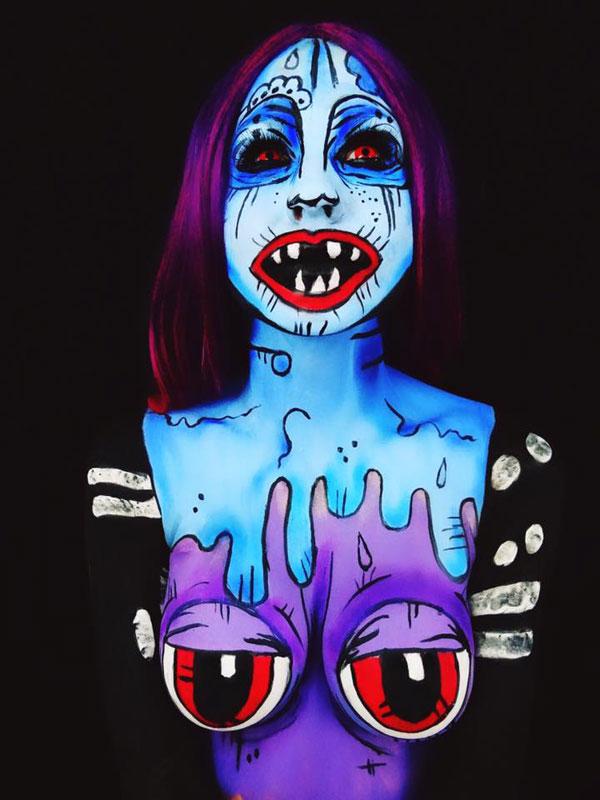 Bodypainter Corie Willet twistinbangs Completely Transforms Herself Into Beautiful Nightmares (10)
