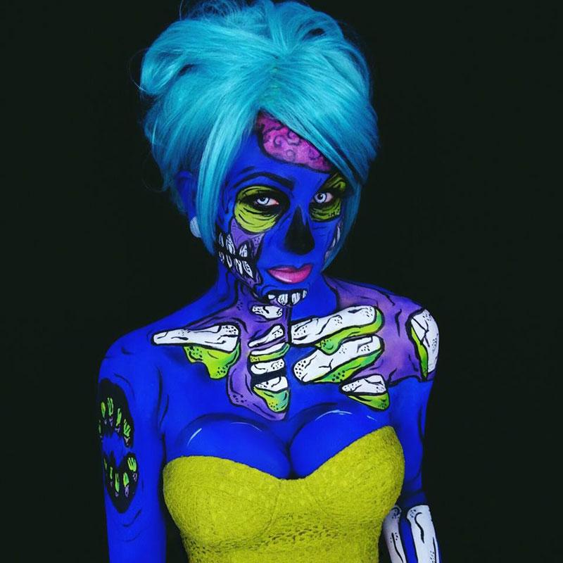 Bodypainter Corie Willet twistinbangs Completely Transforms Herself Into Beautiful Nightmares (11)