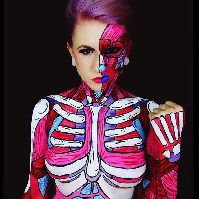 Bodypainter Corie Willet twistinbangs Completely Transforms Herself Into Beautiful Nightmares (13)