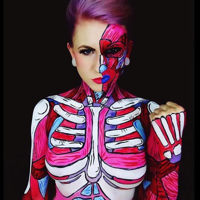 Bodypainter Corie Willet twistinbangs Completely Transforms Herself Into Beautiful Nightmares (13)