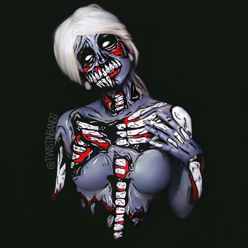 Bodypainter Corie Willet twistinbangs Completely Transforms Herself Into Beautiful Nightmares (15)
