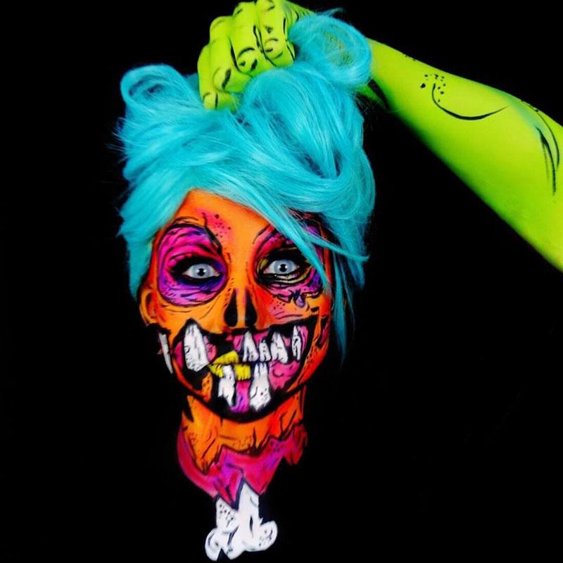 Bodypainter Corie Willet twistinbangs Completely Transforms Herself Into Beautiful Nightmares (4)