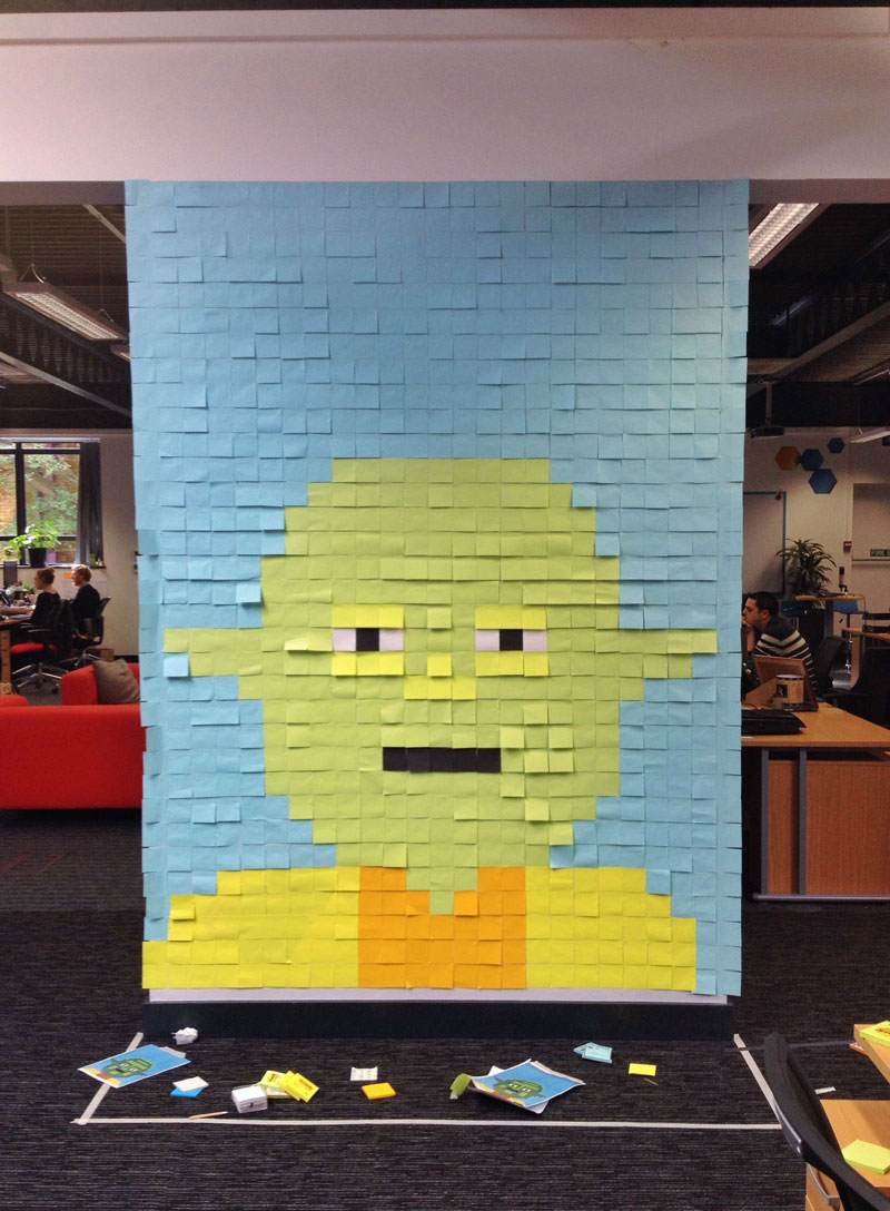 Co Workers Use Post Its To Turn Boring Office Walls Into