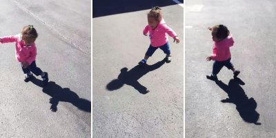 Little Girl Gets Frightened by Her Own Shadow