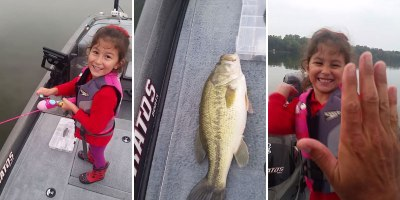 Little Girl Reels in Huge Bass with a Barbie Pole