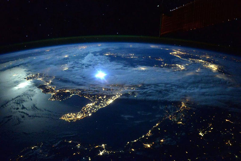 moonlight over italy scott kelly nasa iss Picture of the Day ...
