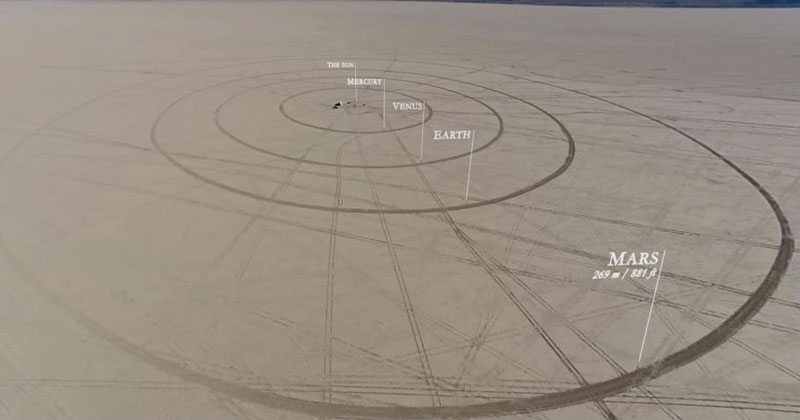 A Group of Friends Build the Solar System to Scale in the Middle of the Desert