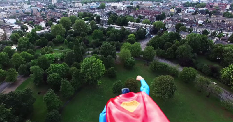 Guy Attaches Superman Action Figure to Drone and Makes a Hero Cam