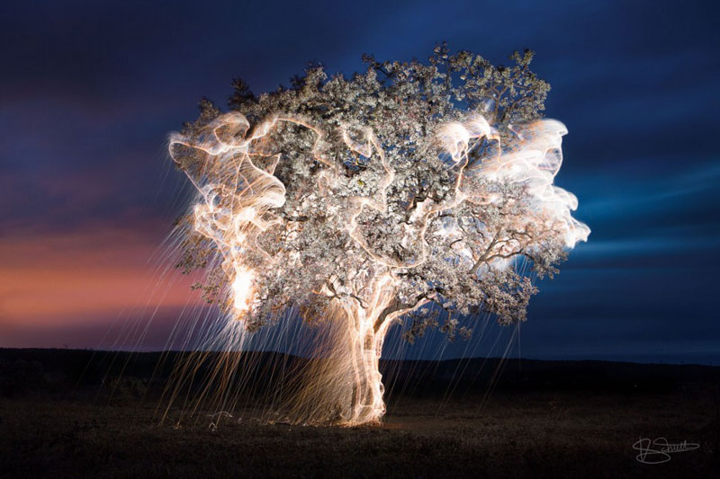 Long Exposure Light Painting with Fireworks by Vitor Schietti