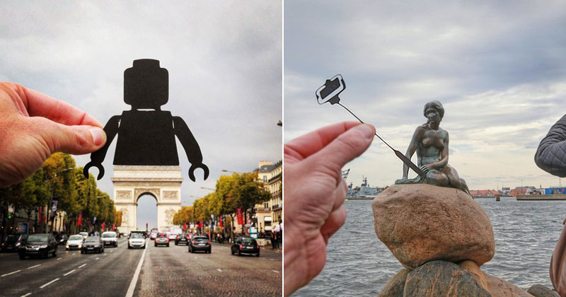 Artist Adds Creative Twist To His Travel Photos with Paper CutOuts