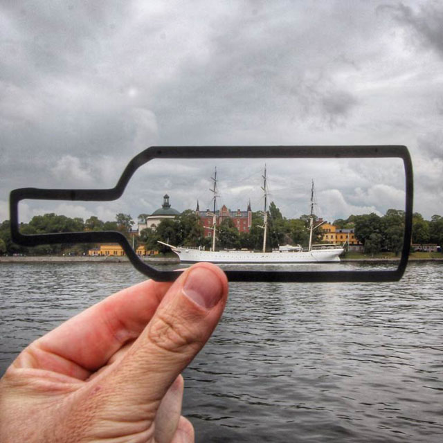 Rich McCor adds paper cutouts to his travel photos paperboyo instagram (2)