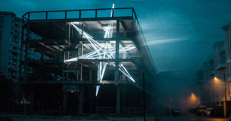 Artist Installs Giant 4-Story LED Star in Abandoned Building