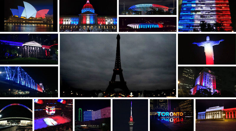 buildings lit up with france flag colors across the world