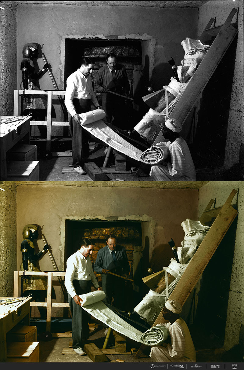 21 colorized photos from the 1920s discovery of king tut. Black Bedroom Furniture Sets. Home Design Ideas